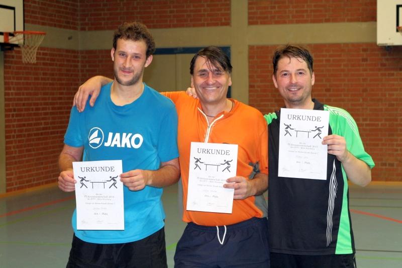 Die Top-3 der C-Herren (von links): 1. Christian Fischer (TSV Reichenberg) 2. Dietmar Weinbeer (TSV Grombühl) 3. Michael Schön (SB Versbach)